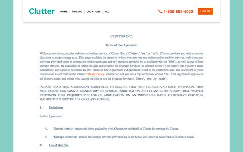 Screenshot of Terms Page clutter.com - Clutter Storage Terms | The Future of Self Storage in Los Angeles CA - captured Nov. 23, 2015