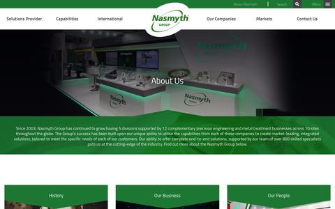 Screenshot of About Page nasmythgroup.com - About Us | Nasmyth - captured Dec. 8, 2018