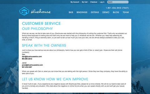Screenshot of Support Page bluehouseskis.com - Customer Service - captured Sept. 30, 2014