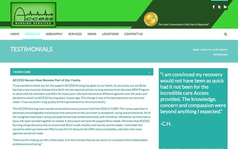 Screenshot of Testimonials Page accesshealthcareservices.com - Healthcare Staffing-Patient Testimonials-NY/NJ - captured Sept. 30, 2014
