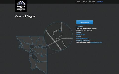 Screenshot of Contact Page seguecon.com - Contact | Segue Construction, Inc. – Bay Area Multi-Family Home Construction - captured Oct. 7, 2014