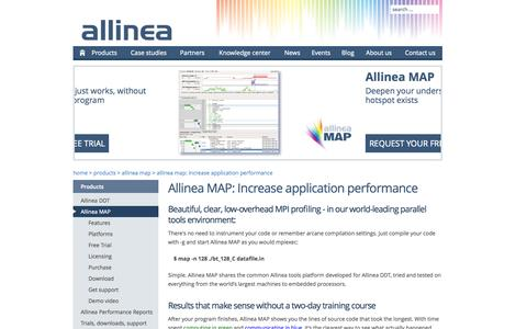 Screenshot of Maps & Directions Page allinea.com - Allinea MAP: Increase application performance | Allinea - captured Sept. 13, 2014