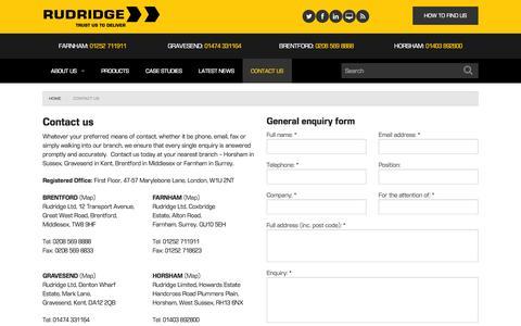 Screenshot of Contact Page rudridge.co.uk - Contact us - captured Nov. 5, 2014