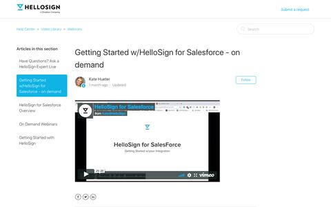 Screenshot of Support Page hellosign.com - Getting Started w/HelloSign for Salesforce - on demand – Help Center - captured Feb. 21, 2020