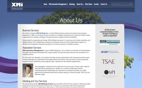 Screenshot of About Page xmi-amc.com - About Us  | XMi Association Management - captured Oct. 4, 2014