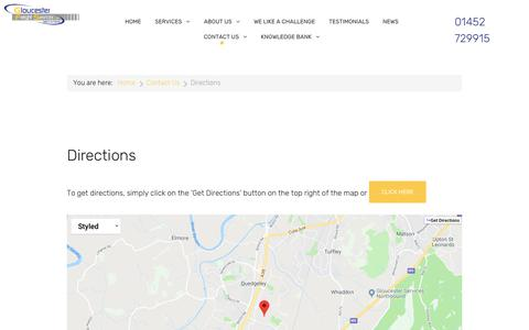 Screenshot of Maps & Directions Page gloucesterfreight.com - Directions - captured Oct. 22, 2018
