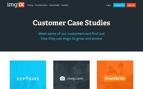 Screenshot of Case Studies Page imgix.com - Case Studies • imgix • Real-time image processing and image CDN - captured April 5, 2016
