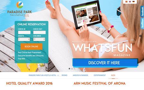 Screenshot of Blog hotelparadisepark.com - Paradise Park Fun LifeStyle Hotel - Blog - captured Sept. 9, 2017