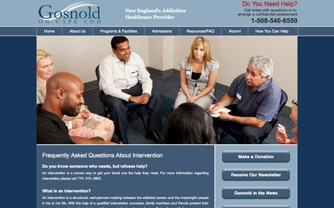 Screenshot of FAQ Page gosnold.org - Frequently Asked Questions About Intervention - captured Oct. 2, 2014