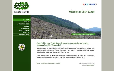 Screenshot of Home Page coastrange.ca - Coast Range Contracting Ltd. - captured Oct. 3, 2014