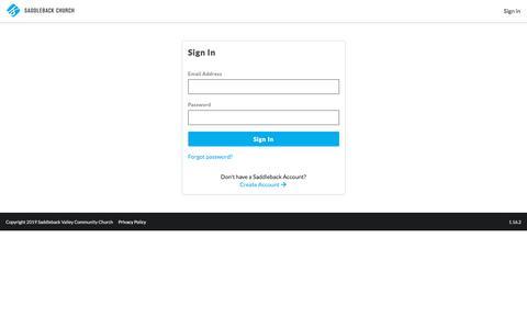 Screenshot of Login Page saddleback.com - Saddleback Identity Server - captured July 9, 2019
