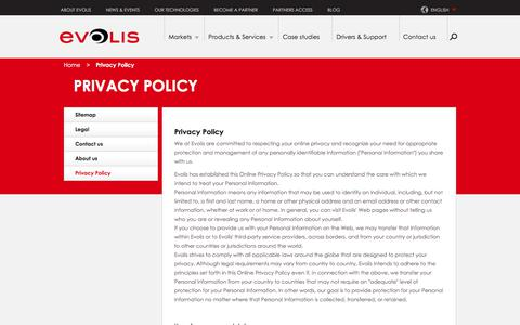 Screenshot of Privacy Page evolis.com - Privacy Policy | Evolis - captured July 21, 2018