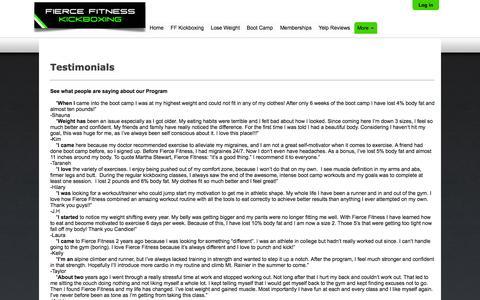Screenshot of Testimonials Page fiercefitness.com - Written Testimonilas - captured Sept. 30, 2014