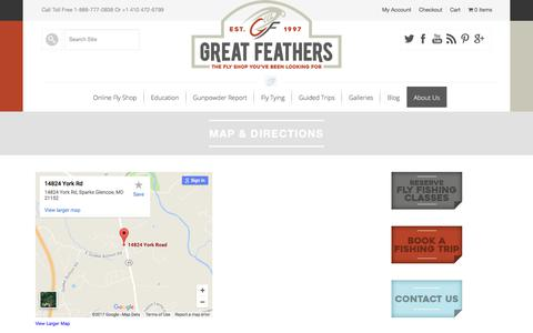 Screenshot of Maps & Directions Page greatfeathers.com - Map & Directions - Great Feathers Fly Shop - Fly Tying Materials, supplies & Feathers - captured Sept. 18, 2017