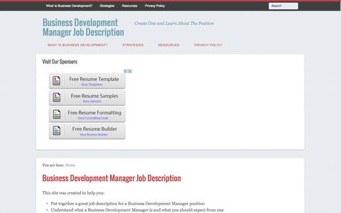Screenshot of Home Page businessdevelopmentmanagerjobdescription.com - Business Development Manager Job Description - captured Sept. 19, 2014