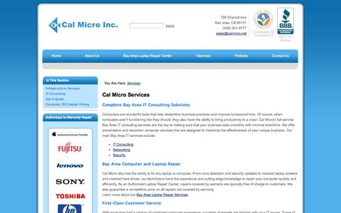 Screenshot of Services Page calmicro.net - Bay Area IT Consulting Services and Laptop Repair - Cal Micro - captured Oct. 1, 2014