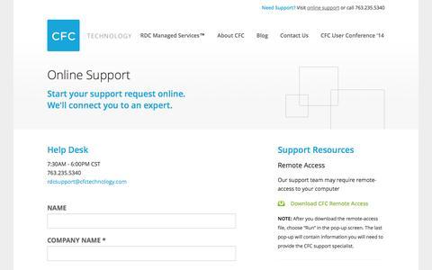 Screenshot of Support Page cfctechnology.com - Online Support   CFC Technology - captured Oct. 1, 2014