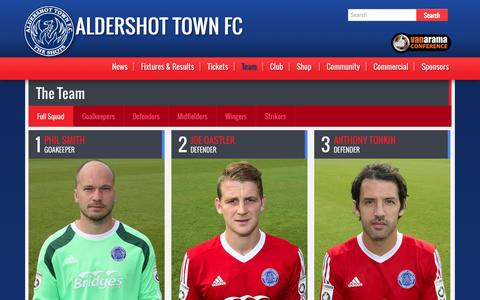 Screenshot of Team Page theshots.co.uk - First Team | Aldershot Town FC - captured Oct. 4, 2014