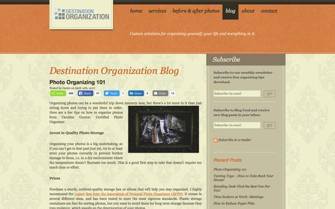 Screenshot of Blog destorg.com - Get Organized Blog: Organizing Tips, Time Management, Storage Products | Destination Organization - captured Oct. 12, 2017