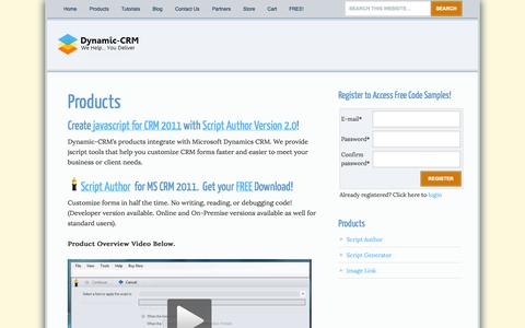 Screenshot of Products Page dynamic-crm.com - Products - captured Sept. 30, 2014