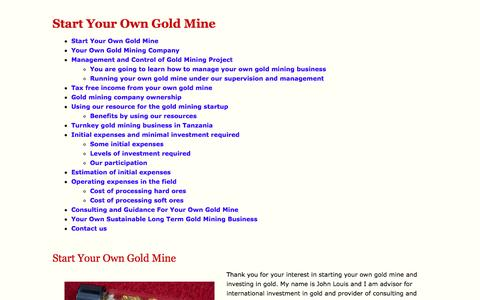 Screenshot of Home Page startyourowngoldmine.com - Start Your Own Gold Mine - captured Oct. 9, 2014