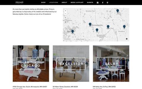 Screenshot of Locations Page primpyourself.com - Locations — Primp Boutique - captured Aug. 31, 2017