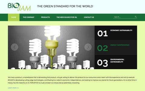 Screenshot of Home Page biojam.com - Biojam, Inc.   The Green Standard for the World - captured Jan. 23, 2015