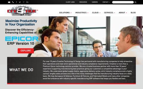 Screenshot of Home Page ctnd.com - Epicor ERP Software Consulting, Implementation & Software Solutions | CTND - captured Sept. 23, 2018