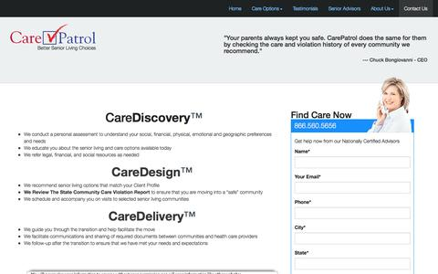 Screenshot of Services Page carepatrol.com - Find Independent Living, Assisted Care, Nursing Homes and Long Term Care Facilities - captured Nov. 1, 2014