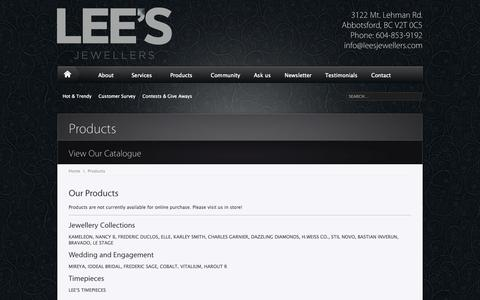 Screenshot of Products Page leesjewellers.com - Our Products | Lee's Jewellers - captured Sept. 29, 2014