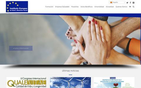 Screenshot of Home Page institutoeuropeo.es - Instituto Europeo - Instituto Europeo de Salud y Bienestar Social – educación médica, satisfacción de los pacientes y cooperación para el desarrollo - captured Jan. 30, 2017