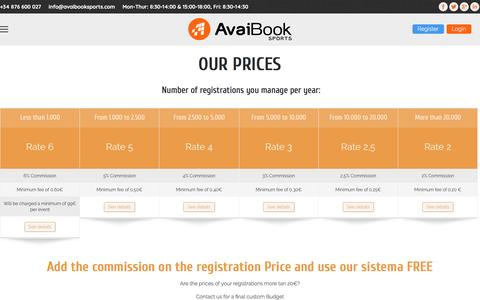 Screenshot of Pricing Page avaibooksports.com - Pricing - Avaibook Sports - captured Feb. 1, 2017