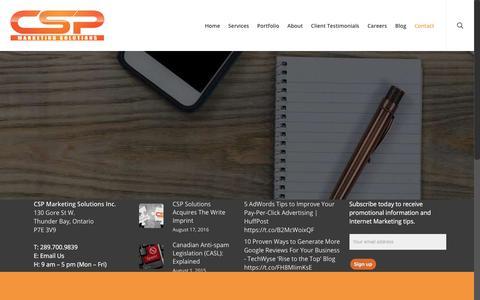 Screenshot of Contact Page cspmarketingsolutions.com - Contact | CSP Marketing Solutions Inc - captured July 15, 2018