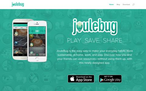 Screenshot of Home Page joulebug.com - JouleBug - Sustainability App - captured Sept. 30, 2014
