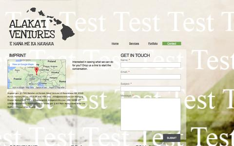Screenshot of Contact Page alakaiventures.com - Contact - captured Sept. 30, 2014