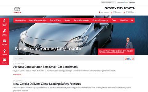 Screenshot of Press Page sydneycitytoyota.com.au - News - Sydney City Toyota - Page 1 - captured Sept. 24, 2018