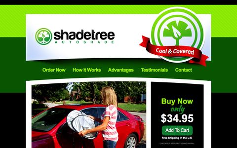 Screenshot of Home Page autoshadetree.com - Shade Tree Auto Cover Keeps Your Car Cool In Hot Sun & Summer Weather : Car Roof Cover for Vehicles, Cars, Trucks - captured Oct. 4, 2014