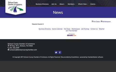 Screenshot of Press Page dicksoncountychamber.com - News - Dickson County Chamber of Commerce, TN - captured Oct. 12, 2017