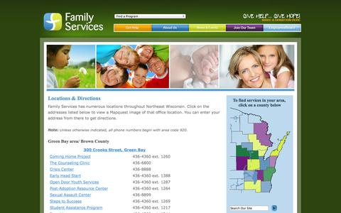 Screenshot of Locations Page familyservicesnew.org - Locations & Directions - Family Services - captured Oct. 5, 2014