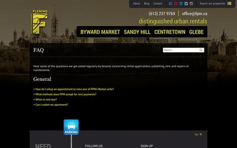 Screenshot of FAQ Page fpm.ca - FAQ - Fleming Property Management - captured Oct. 6, 2014