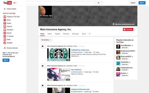 Screenshot of YouTube Page youtube.com - Mars Insurance Agency, Inc.  - YouTube - captured Oct. 27, 2014