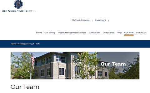 Screenshot of Team Page oldnorthstatetrust.com - Our Team - Old North State Trust - captured Nov. 13, 2017