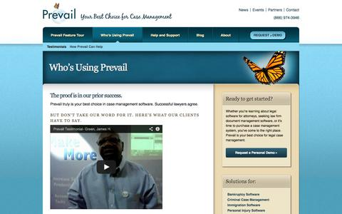 Screenshot of Testimonials Page prevail.net - Who's Using Prevail - Successful lawyers | Prevail - captured Oct. 3, 2014