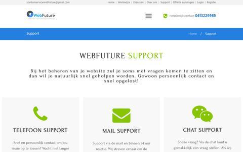 Screenshot of Support Page webfuture.nl - Webfuture support - wordpress ondersteuning | Bij webfuture.nl - captured Oct. 20, 2018