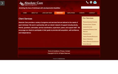 Screenshot of Services Page absolutecare.org - Services – Absolute Care - captured Nov. 6, 2018