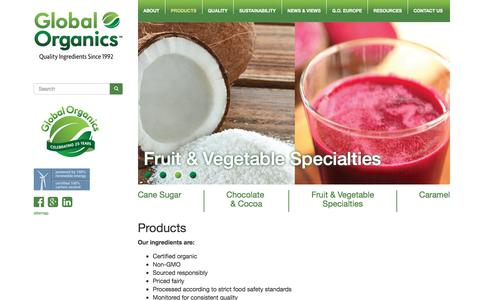 Screenshot of Products Page global-organics.com - Certified Organic Food Ingredients - Fair Trade Products - Global Organics - captured Jan. 27, 2018