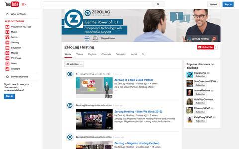Screenshot of YouTube Page youtube.com - ZeroLag Hosting  - YouTube - captured Nov. 1, 2014