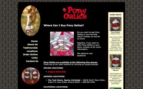 Screenshot of Locations Page ponyoaties.com - Pony Oaties Horse Treats! - captured Oct. 2, 2014