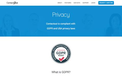 Screenshot of Privacy Page contactout.com - Privacy - ContactOut - captured Oct. 17, 2019