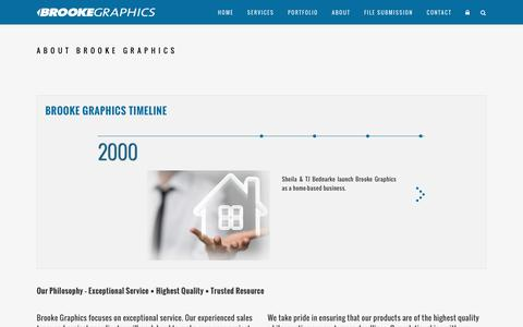 Screenshot of About Page brookegraphics.com - Brooke Graphics |   About Brooke Graphics - captured Nov. 23, 2016